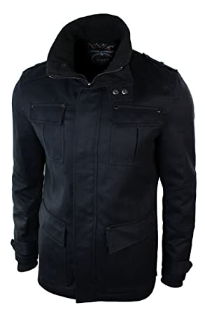Voeut Mens Slim Fit Army Military Jacket Over Coat Navy Grey Black Smart  Casual 3720767d5c1