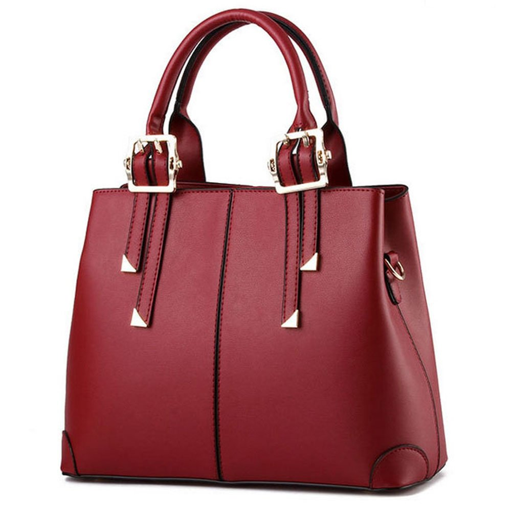 QUBABOBO Women Leather Top Handle Zipper Closure Handbags Burgundy(Gift for Valentine)