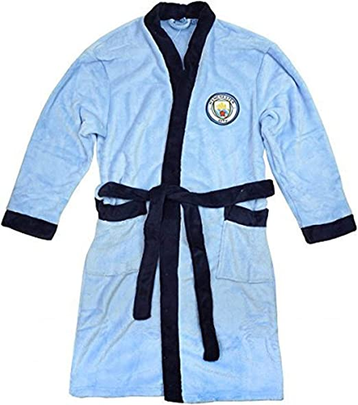 Manchester City Dressing Gown Bathrobe Age 3-12 Years