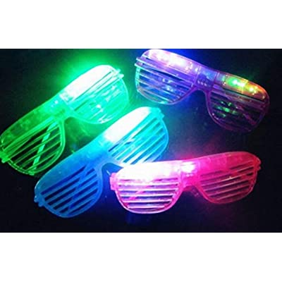 12 Piece Slotted & Shutter Shades Light Up Unisex Flashing Glasses for Adults & Children (5 Assorted Colors: White, Purple, Green, Blue, & Pink)- with Push On/Off Button for All Occasions: Toys & Games