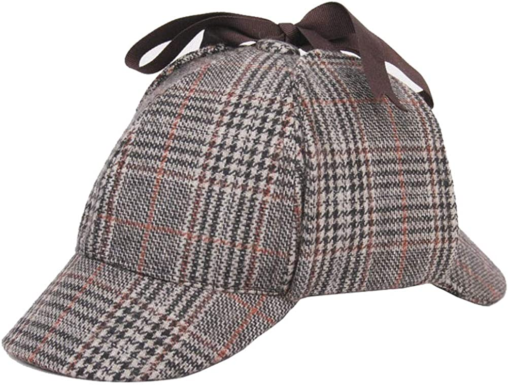 Chong Sheng Unisex Holmes Hat Deerstalker Hat Classic Detective Hat for Adults and Children