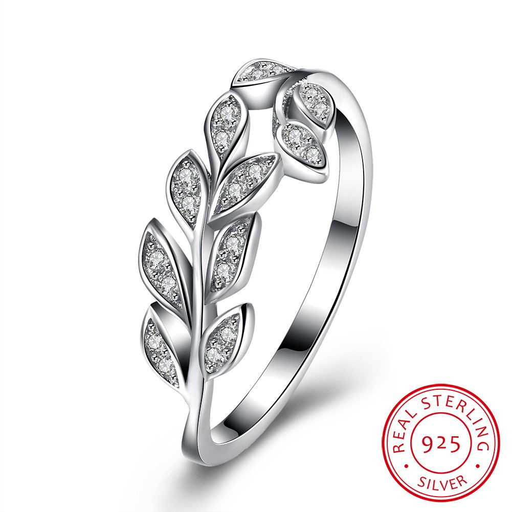 BALANSOHO Olive Branch Wedding Bands Anniversary Ring in 925 Sterling Silver with Cubic Zirconia, Size 8 ZWQSVR145-8