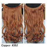 Secret Halo Hair Extensions Flip in Curly Wavy Hair Extension Synthetic Women Hairpieces 20'' (Copper #30J)
