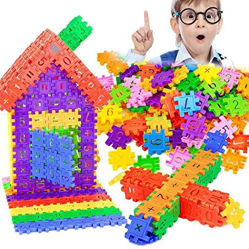 KOKOBUY 20pcs Plastic Children Geometric Digital Building Blocks Funny Educational Toys Gifts (60PCS)