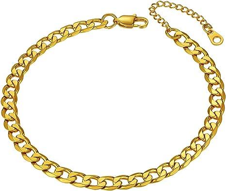 "5mm 9/"" Curb Link Anklet Bracelet Gold Stainless Steel for Women Men Foot Chain"