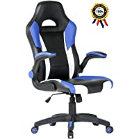 SEATZONE Racing Car Style Bucket Seat Gaming Chair, Curved High-Back Executive Swivel Office Leather Chair, Adjustable Computer Chair with Flip-Up Armrest