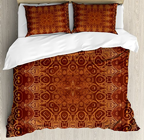 - Ambesonne Antique Decor Duvet Cover Set, Vintage Lacy Persian Arabic Pattern from Ottoman Empire Palace Carpet Style Artprint, 3 Piece Bedding Set with Pillow Shams, Queen/Full, Orange Brown