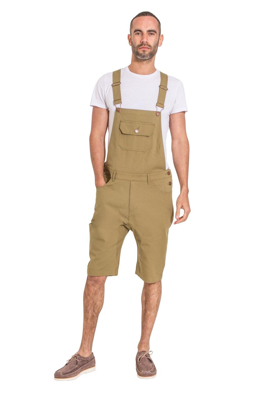 USKEES Mens Bib Overall Shorts - Olive fashion Dungaree Shorts