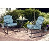 Willow Springs 3 Piece Rocking Chairs & Table Outdoor Furniture Bistro Set, Blue, Seats 2