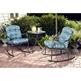 Willow Springs 3 Piece Rocking Chairs & Table Outdoor Furniture Bistro Set, Blue, Seats 2 For Sale