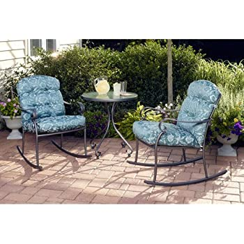 Willow Springs 3 Piece Rocking Chairs U0026 Table Outdoor Furniture Bistro Set,  Blue, Seats