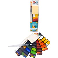 M&G Watercolour Paint Set, 42 Assorted Colors Solid Pocket Travel Watercolor Kit, Foldable Art Painting Field Sketch Set with Water Brush for Artists, Kids, Beginners Outdoor Painting