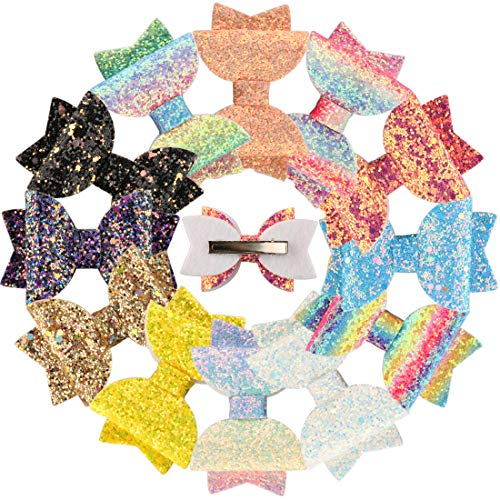 XIMA 12pcs Glitter Sparkly Bows Clips for Girls Hair Pin Rainbow Hair Bows for Hair Accessoires (12pcs-Glitter Rainbow bow clip)