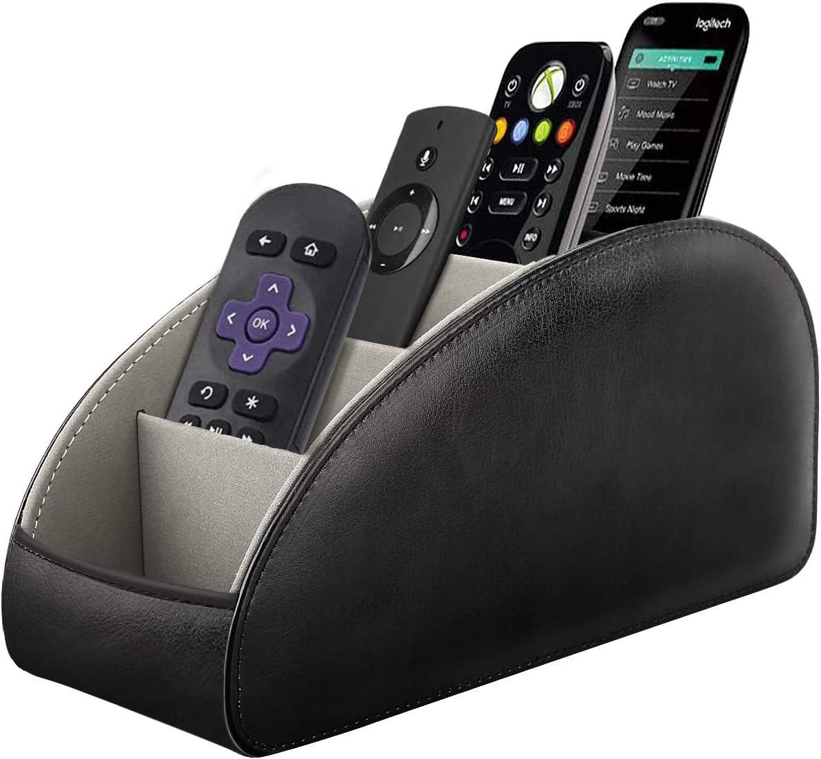 TiMOVO Remote Control Holder, [5 Compartments] PU Leather TV Remote Organizer Remote Caddy Desktop Organizer for Remote Controllers, Office Supplies, Makeup Brush, Media Accessories - Black