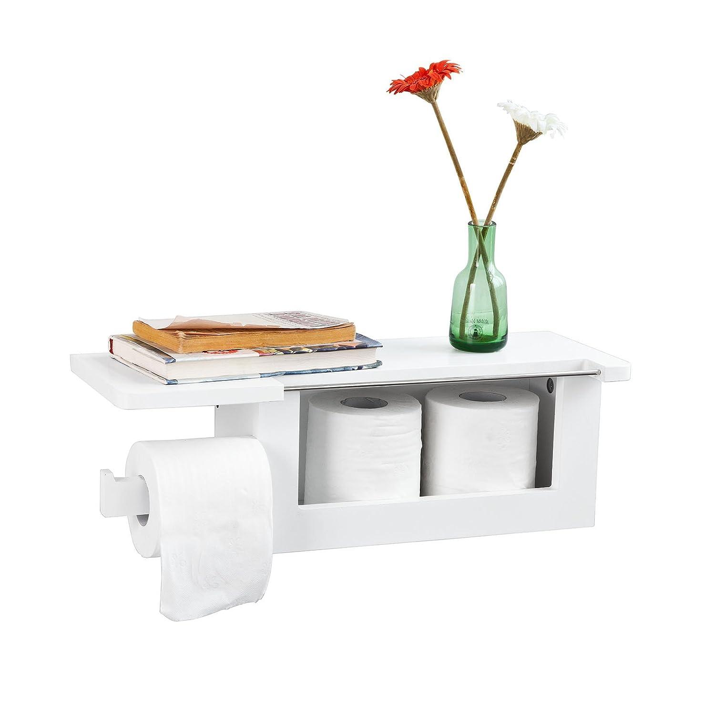 SoBuy® FRG175-W, White Wall Mounted Bathroom Toilet Paper Roll Holder with Storage Shelf
