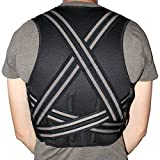 Neoprene Orthopedic Back Support Brace by COMPRESSX - Men & Women - Cushion Support - Back Pain Relief - Lumbar and Shoulder Support - Back Posture Corrector Brace - With Elastic Belts