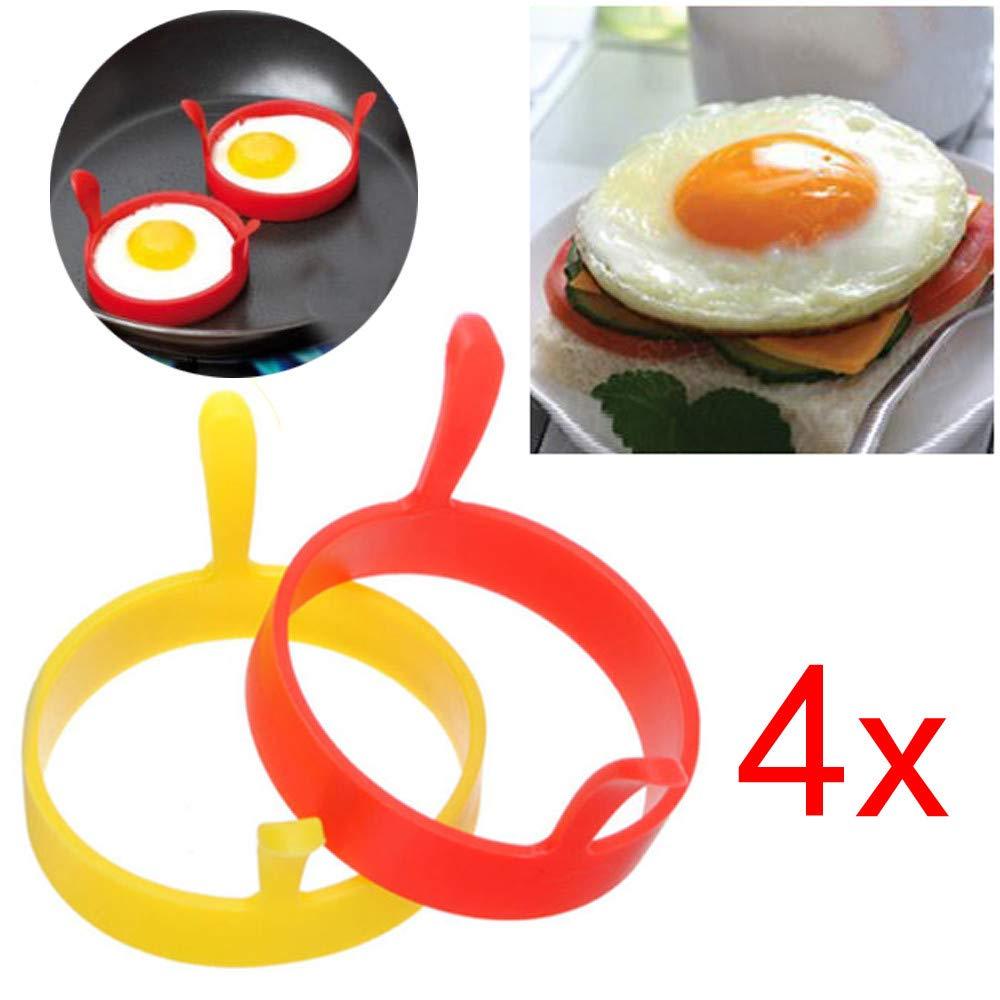 Molde para huevos fritos, molde de silicona antiadherente para panqueques, moldes redondos para huevos con asa, moldes para hacer panqueques para el ...