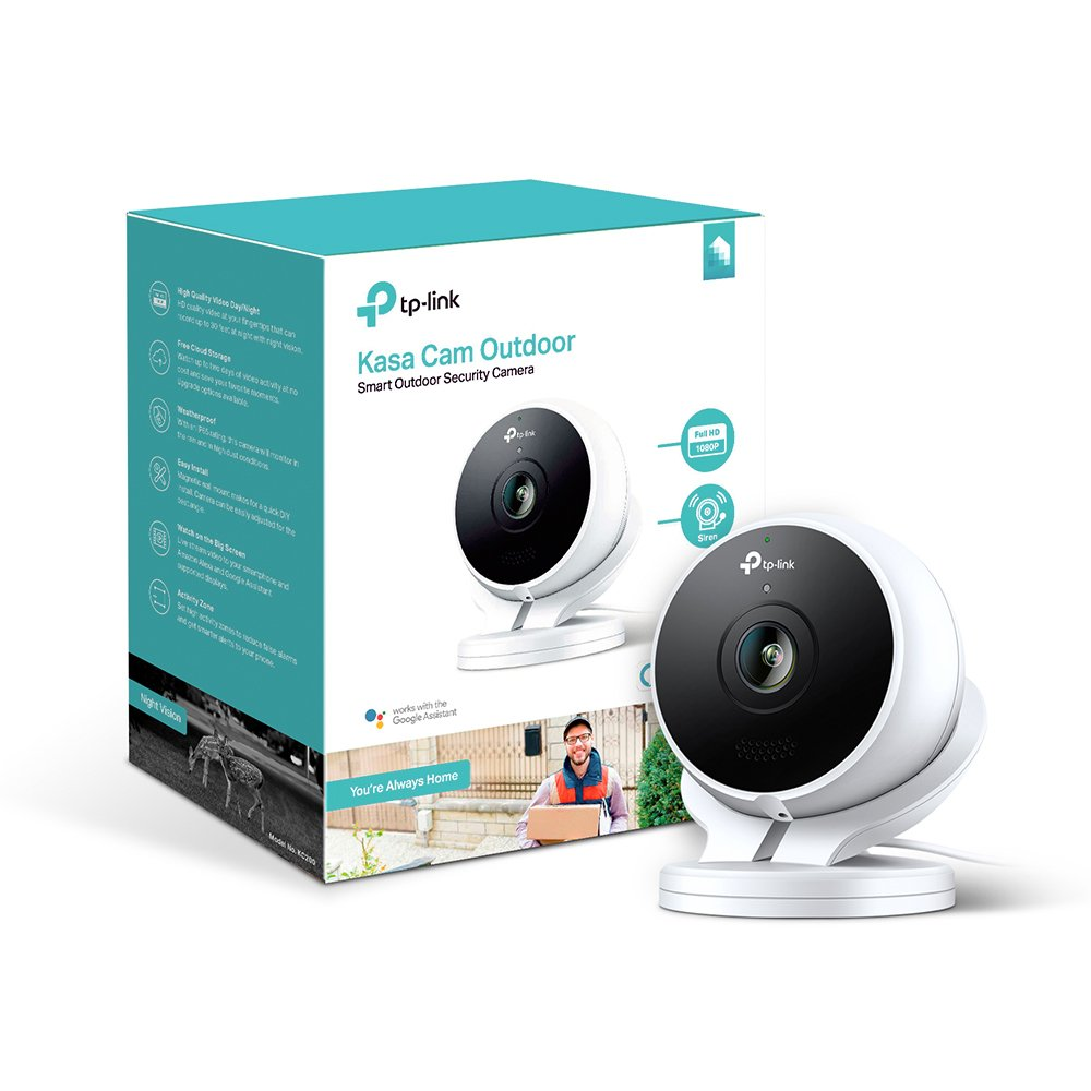 Kasa Cam Outdoor by TP-Link - 1080p HD, 2-Days Free Cloud Storage, Built-in Siren, Stream Anywhere, Works with Alexa Echo and Google Assistant (KC200)