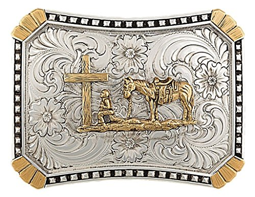 Montana Silversmiths Men's Crosscut Heirloom Christian Cowboy Belt Buckle Multi One Size