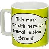 """Sheepworld 42475 Tasse Wortheld """"Mich muss man sich nervlich erst mal leisten können!"""", Porzellan, grün"""