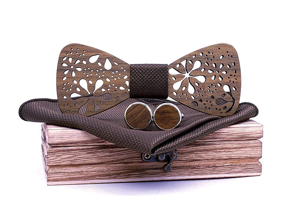 TORMROAD TM Handmade Carving Hollow Out Flower Wooden BowTie Necktie with Matching Pocket Square Mens Cufflinks Set TZ020