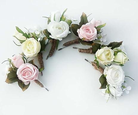 Amazon rose flower boutonniere corsage wristlet handmade rose flower boutonniere corsage wristlet handmade floral silk fabric grooms groomsmen mightylinksfo