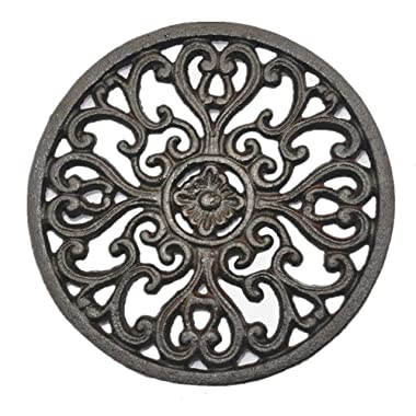 Doublewood 6.6  Diameter Decorative Cast Iron Trivet Round Tablemat Potholders with Rubber Legs Vintage Carving Flower for Rustic Kitchen or Dining Table Decor (Rust Brown Color)