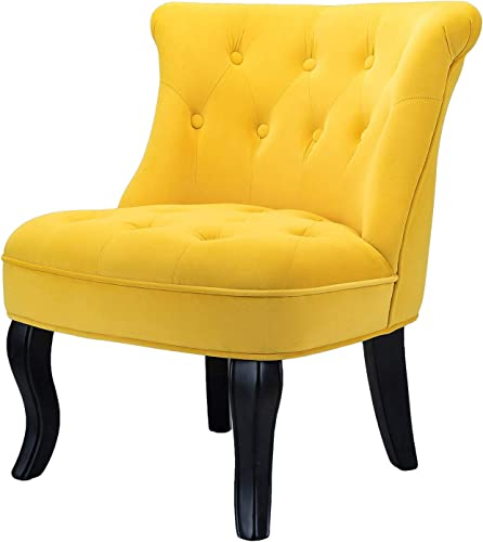 Yellow Gold Upholstered Chair Jane Tufted Velvet Armless Accent Chair with Black Birch Wood Legs – Sunrise Yellow