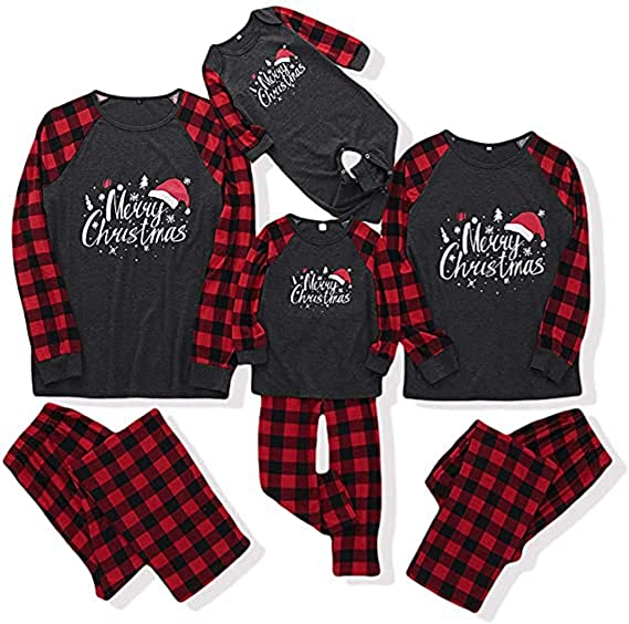 Christmas Matching Family Pajamas Set, Elk Letter Print Red Plaid Outfit