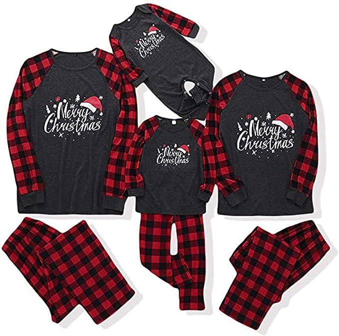 FFENYAN Merry Matching Pajamas Christmas Pajamas for Family Women Men Kids Baby Pjs Red Plaid Reindeer Loungewear