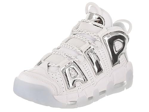 NIKE Women's Air More Uptempo Shoe White/Chrome/Blue Tint (12 B(