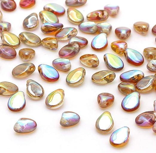 Light Topaz 120 beads Jewellery Making Czech Pressed Glass Beads 8mm Stars