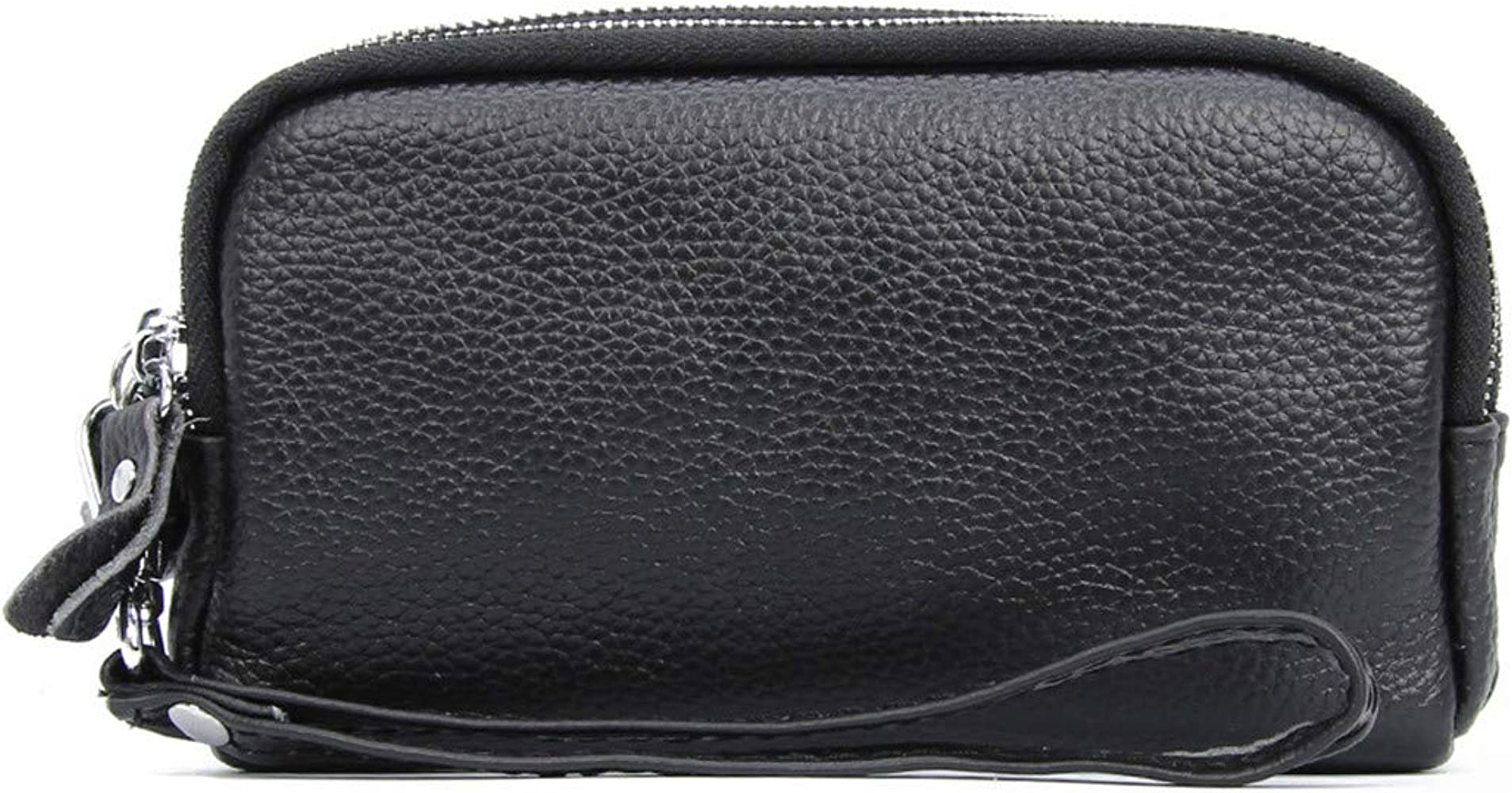 Andongnywell Womens Leather Wristlet Polished Pebbled Leather Double Clutch Wallet Signature Smartphone Purse