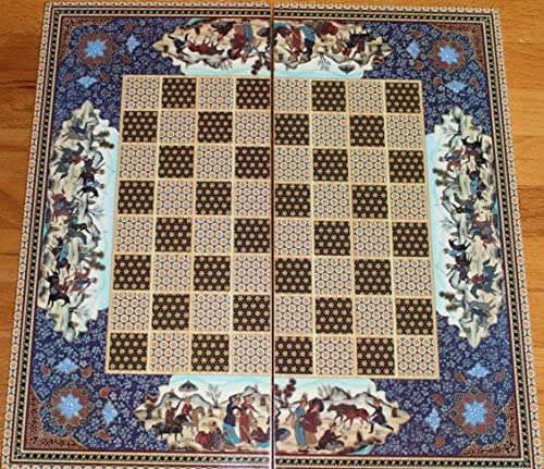 """20/"""" Quality Persian Pattern Compressed Wood Checkers Backgammon Set"""