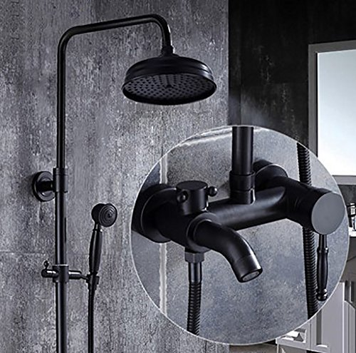 YYF-SHOWER Shower System Shower Set, Brass Fittings, European Creative Wall-Mounted Top Spray Waterfall Bathroom Faucet, Hand Shower Single Handle Converter, Black 1.5m Hose