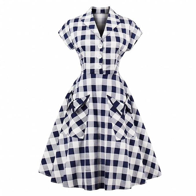 GLOGLOW Vestido Estilo escocés Estilo Vintage para Mujer, Solapa con Cuello en v una línea Elegante Vestido de Fiesta con Bolsillos