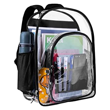 d417d03f8b8b ... Backpack Clear Bookbags Durable See Through Backpacks for School Work  Travel Transparent Backpacks Clear bag for Kids(Black-Large)