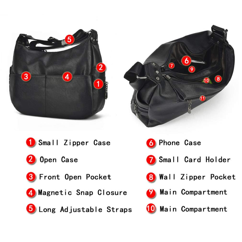 Alovhad Fashion Shoulder Tote Bags Handbag Messenger Hobo Cross Body Bags Purse Soft PU Leather Top Handle Bags for Women (Bronze-Big) by Alovhad (Image #3)