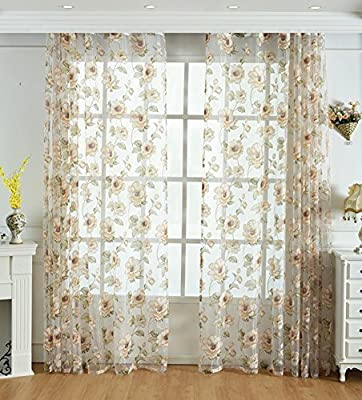 Countryside Flower Sheer Window Curtains Burnt-Out Style Rod Pocket Transparent Treatment Panels for Living Room & Bedroom