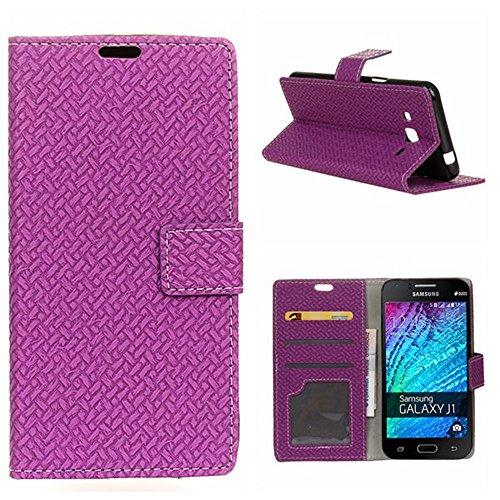 YHUISEN Patrón de armadura de cierre magnético PU de cuero de la cartera de Flip Folio caso con soporte / tarjeta de ranura cubierta de la caja de protección para Samsung Galaxy J1 Mini Prime ( Color  Purple