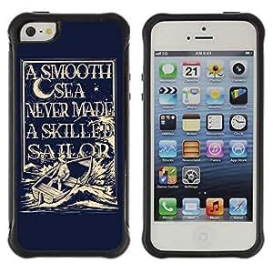 ZAKO Cases / Apple Iphone 5 / 5S / Sailor Captain Illustration / Robusto Prueba de choques Caso Billetera cubierta Shell Armor Funda Case Cover Slim Armor