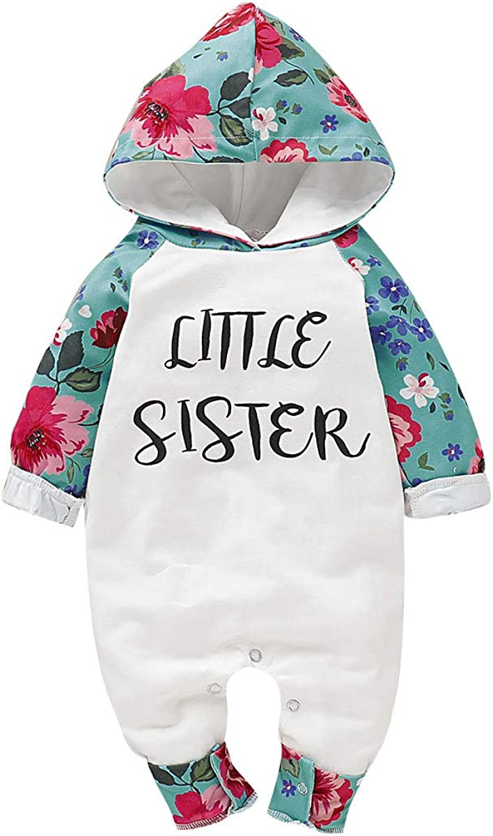 mtxtechnology Baby Girls Romper Toddler Girls Long Sleeve Letter Floral Hooded Bodysuit Jumpsuit for 0-24 Months