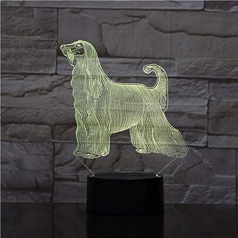 WangZJ Hound Chien Lampe De Bureau Chevet 3D Illusion 7