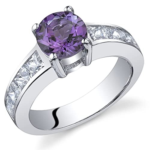 Simply Sophisticated 1.25 carats Amethyst Ring in Sterling Silver Rhodium Nickel Finish Sizes 5 to 9