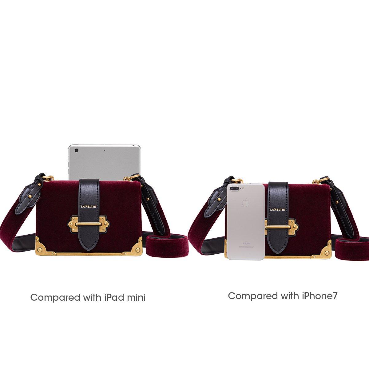 f73fafa9a353e9 LA'FESTIN Velvet Leather Shoulder Bag for Ladies Cross Body Handbag Black:  Amazon.ca: Shoes & Handbags
