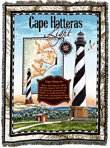 Pure Country Weavers | Cape Hatteras Lighthouse Woven Tapestry Throw Blanket Collector Gift with Fringe Cotton USA 72 -