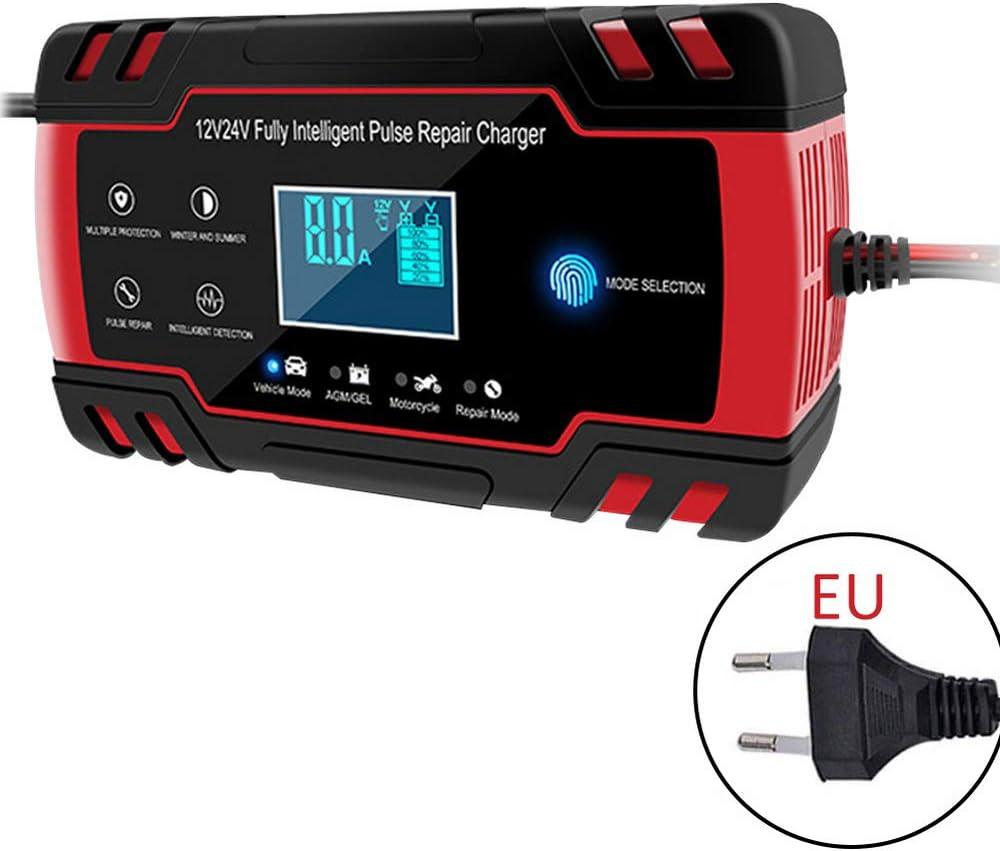 Cargador de batería inteligente de 12 V 8 Amp/24 V 4 Amp con pantalla LCD para coche, camión, motocicleta, cortacésped de césped, barco, caravana y más