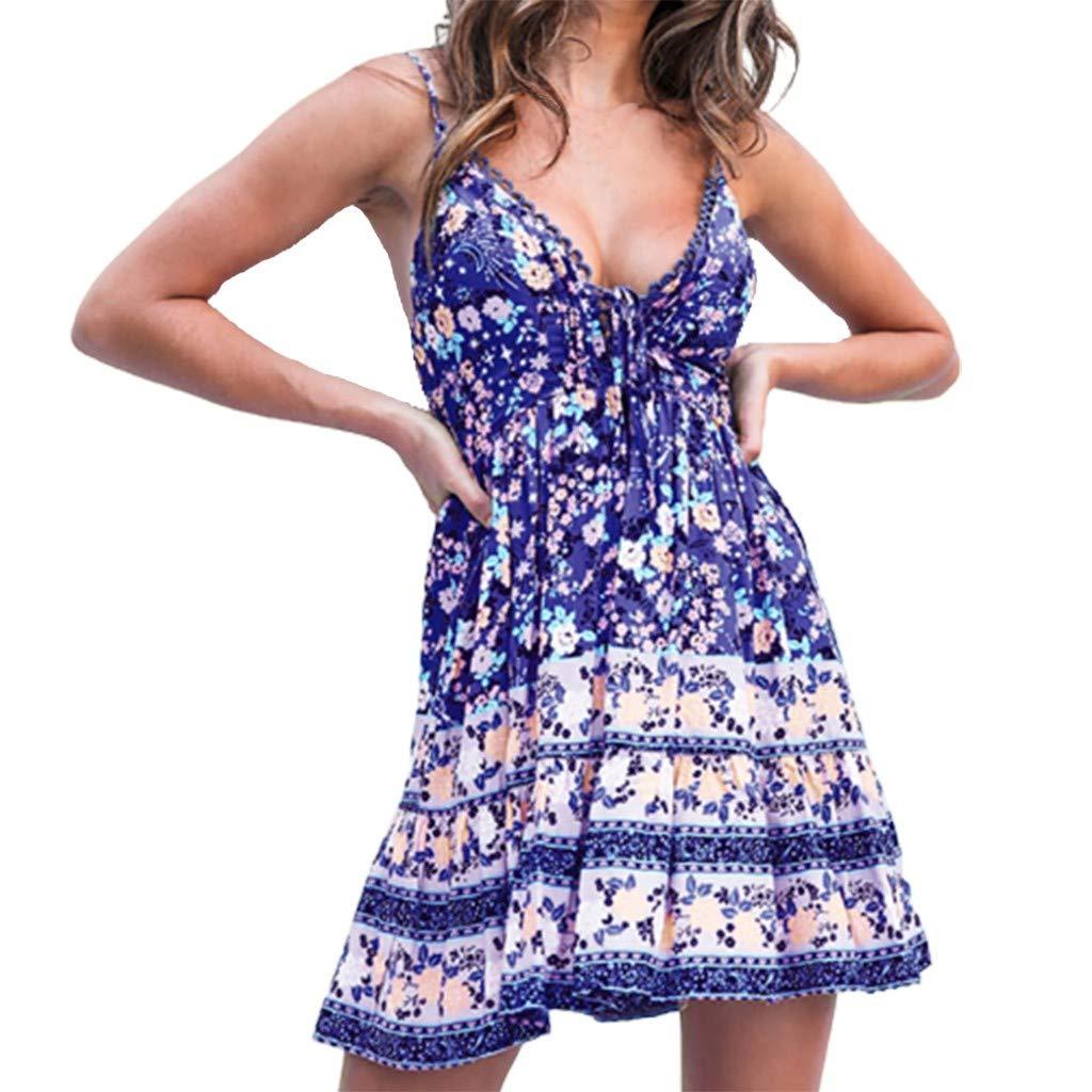 Salaks Women Retro Boho V Neck Spaghetti Dress Swing Plain Backless Sling Zip Floral Pattern Beach Dresses