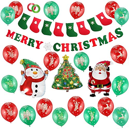 Merry Christmas Balloons Decorations Kit,Christmas Balloons Mylar (Santa Claus/Christmas Tree/Snowman) Merry Christmas Banner Garland for Winter Wonderland Party (Christmas Latex Balloons)