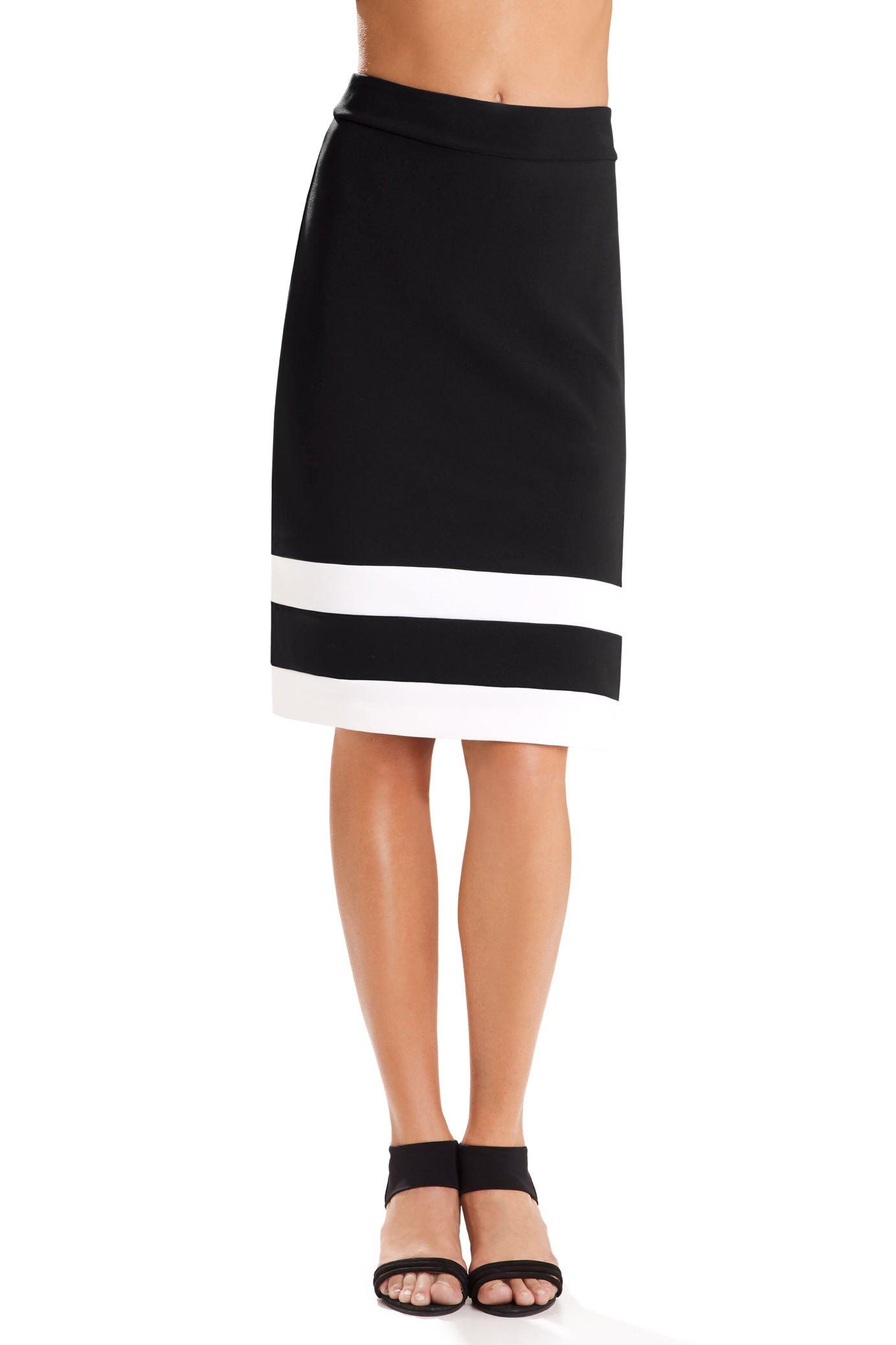 Beyond Travel Women's Wrinkle-Resistant Colorblock Midi Knit Skirt Black/Ivory Coast Large